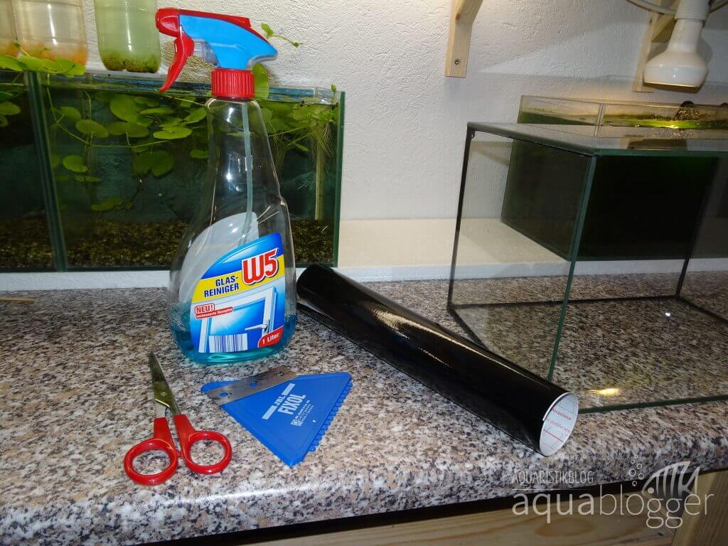 Entspiegelung eines Aquariums benoetigtes Material